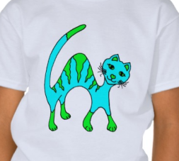 Source: http://www.zazzle.com/turquoise_cat_t_shirt-235563491465718276